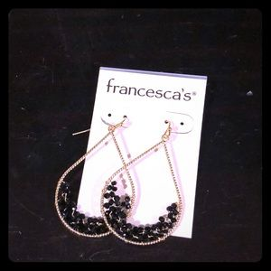 NWT black and gold dangle earrings